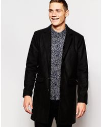 Another Influence - Nother Influence Wool Blend Contrast Overcoat - Lyst