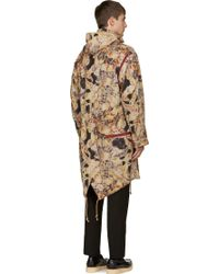 Yohji Yamamoto Purple and Beige Floral Mummy Coat - Lyst