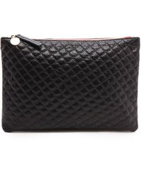 Clare V. Quilted Supreme Flat Clutch Navy - Lyst