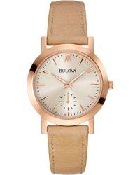 Bulova Women'S Beige Leather Strap Watch 32Mm 97L146 - Lyst