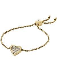 Michael Kors Glass Heart Slider Bracelet - Goldtone - Lyst