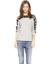 Madewell Boiled Wool Yoke Sweatshirt - Marled Grey - Lyst