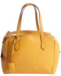 Fendi Mustard Yellow Leather Tri-Zip Top Handle Tote - Lyst