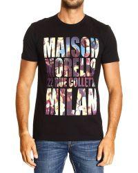 Frankie Morello Tshirt Short Sleeve Crewneck Written Print - Lyst