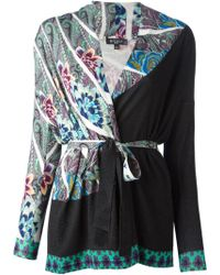 Etro Printed Belted Cardigan - Lyst