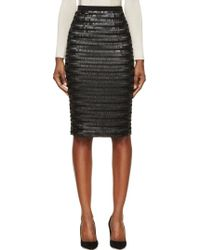 Burberry London Black Silk Sequin Embroidered Midi Skirt - Lyst