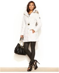 Guess Coat Hooded Fauxfurtrim Quilted Puffer - Lyst