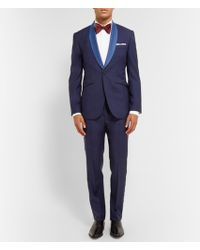 Hardy Amies Navy Slim-Fit Contrast-Trimmed Wool-Blend Tuxedo - Lyst