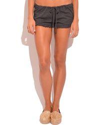 Chaser Tri-Blend Ruffle Shorts black - Lyst