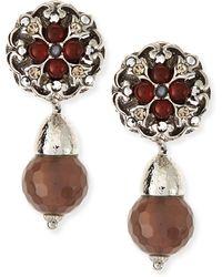 Jose & Maria Barrera Carnelian  Gray Agate Clipon Earrings - Lyst