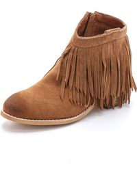 Jeffrey Campbell Chaffee Suede Fringe Booties - Tan brown - Lyst