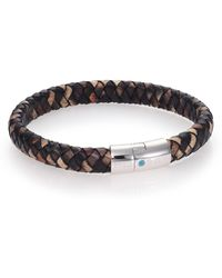 Tateossian Paraiba Topaz, Printed Leather & Sterling Silver Braided Bracelet multicolor - Lyst