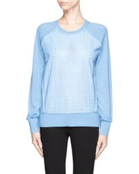 Reed Krakoff Lasercut Leather Front Panel Cashmeremerinosilk Blend Sweater - Lyst