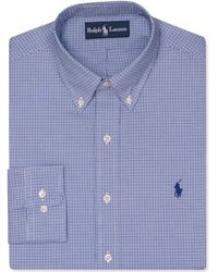 Ralph Lauren Polo Slimfit Blue Check Dress Shirt - Lyst