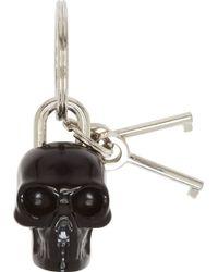Alexander McQueen Black Plexi Padlock Skull Keyring - Lyst