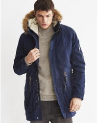 The Idle Man | Canvas Fish Tail Parka Navy | Lyst