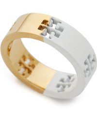 Tory Burch Dipped Pierced T Ring - New Ivory/Shiny Gold - Lyst