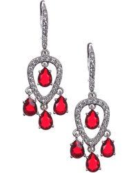 Judith Jack - Silver Tone And Garnet Crystal Triple Drop Earrings - Lyst