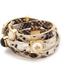 Tory Burch Triple Wrap Bracelet - Naturalshiny Brass - Lyst