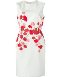 Giambattista Valli Carnation Print Fitted Dress - Lyst