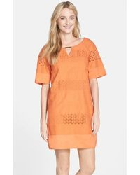 Adrianna Papell Eyelet Cotton Tunic Dress - Lyst