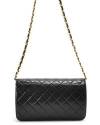 Chanel Preowned Black Quilted Lambskin Chain Shoulder Bag - Lyst