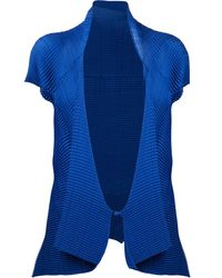 Issey Miyake Blue Rippled Top - Lyst