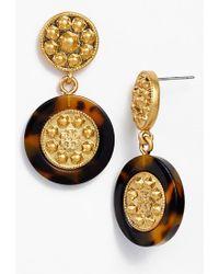 Tory Burch 'Shiloh' Logo Drop Earrings - Lyst