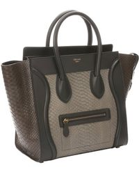 Celine Khaki Python Mini Luggage Tote Bag - Lyst