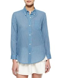 Etoile Isabel Marant Ulia Striped Voile Blouse - Lyst