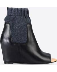 MM6 by Maison Martin Margiela | Open Toe Ankle Boots With Sock Detail | Lyst
