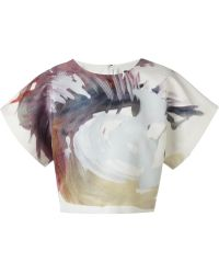 MSGM Painterly Print Top - Lyst