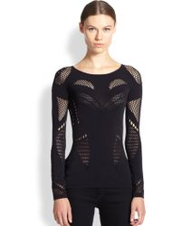 McQ by Alexander McQueen Long-Sleeve Mesh Top black - Lyst
