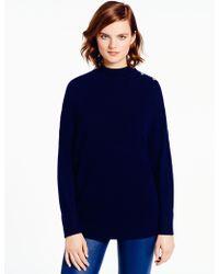 Kate Spade Fluffy Wool Drape Sleeve Sweater blue - Lyst