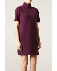 Cedric Charlier Burgundy Stretch Jersey Mini Dress - Lyst