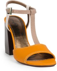 Lanvin Leather T-Strap Sandals yellow - Lyst