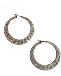 Lucky Brand - Silvertone Large Hammered Hoop Earrings - Lyst