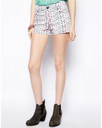 Colorblock Color Block Printed Denim Shorts - Lyst