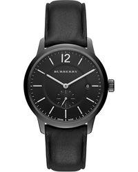 Burberry Round Stainless Steel Watch black - Lyst