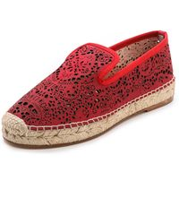 Elysewalker Los Angeles Dee Laser Cut Espadrilles Red - Lyst