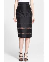 Milly Women'S Sheer Stripe Fil Coupe Midi Skirt - Lyst