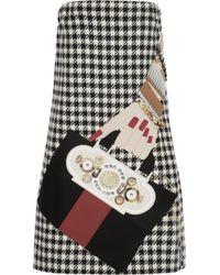 Holly Fulton - Appliquéd Houndstooth Wool Mini Dress - Lyst