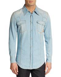 Roberto Cavalli Denim Western Shirt - Lyst