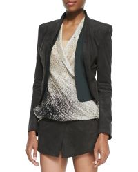 Halston Heritage Ultra Suede Shawl Collar Open Jacket - Lyst