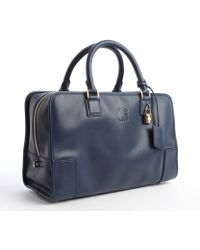 Loewe Navy Blue Leather Top Handle Hand Bag - Lyst
