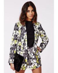 Missguided Gretchan Leaf Print Check Tailored Blazer Grey - Lyst