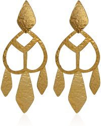 Herve Van Der Straeten Goldplated Cut Out Drop Earrings - Lyst