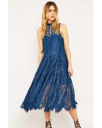 Free People - Angel Rays Blue Midi Swing Dress - Lyst
