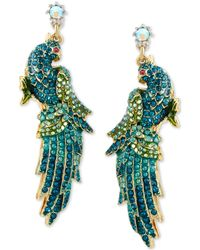 Betsey Johnson | Gold-tone Blue And Green Pavé Crystal Bird Drop Earrings | Lyst