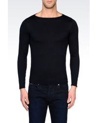 Armani Silk and Cotton Sweater with Square Neck - Lyst